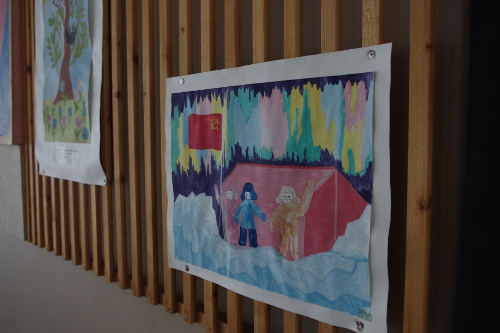 A child's painting in Pyramiden cultural centre