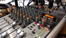 Mixing desk in the Outside Broadcast van