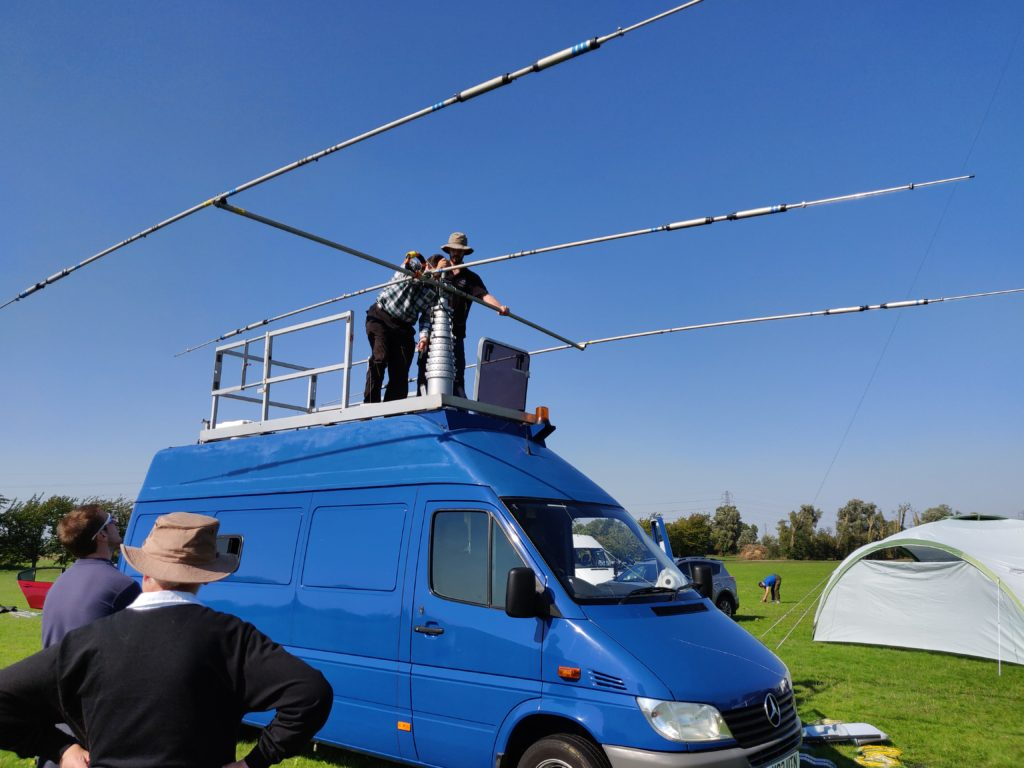 Van with aerial on top