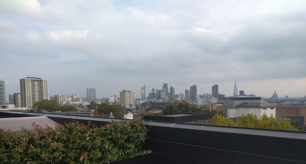 The spectacular view of the London skyline from my office roof
