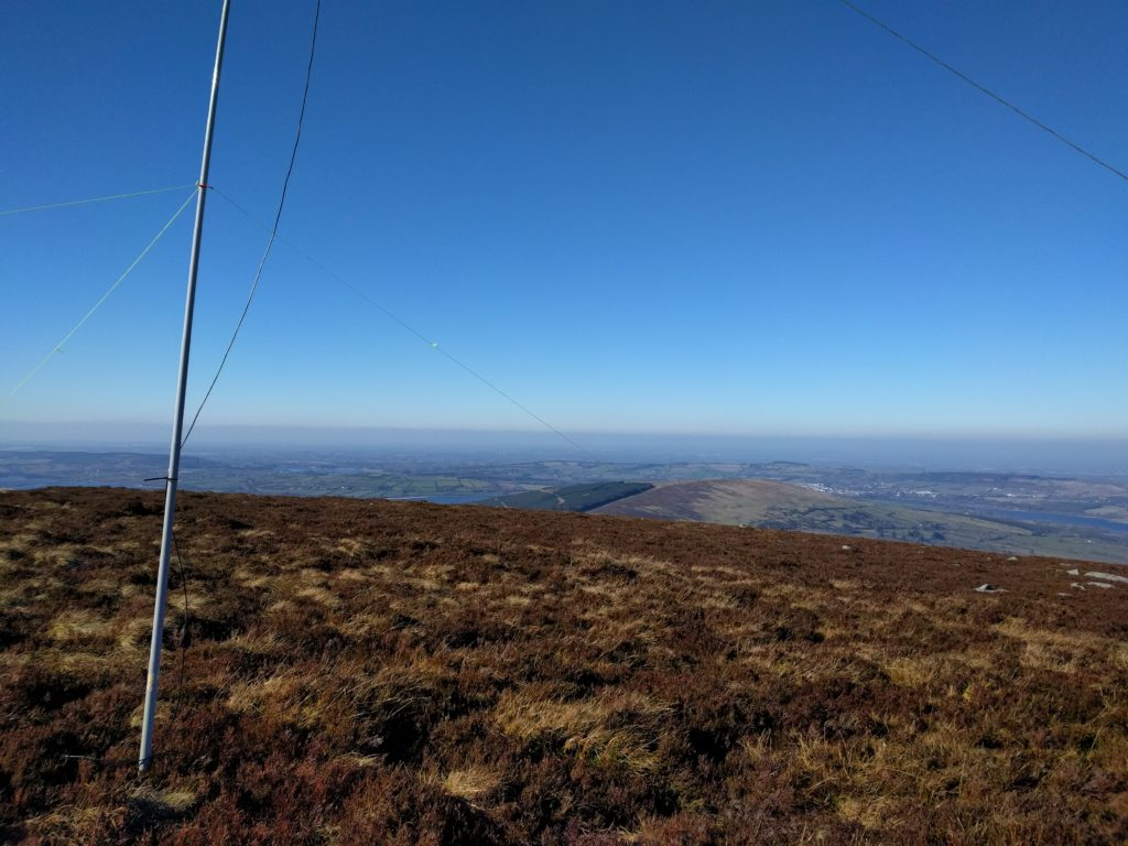 Antenna pole in forground, looking to countryside on the horizon with a blue sky
