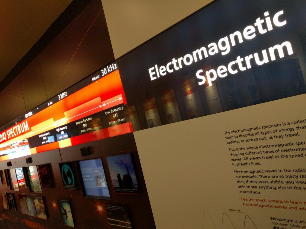 Part of the exhibition, explaining the electromagnetic spectrum