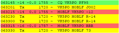 Display of an FT8 contact